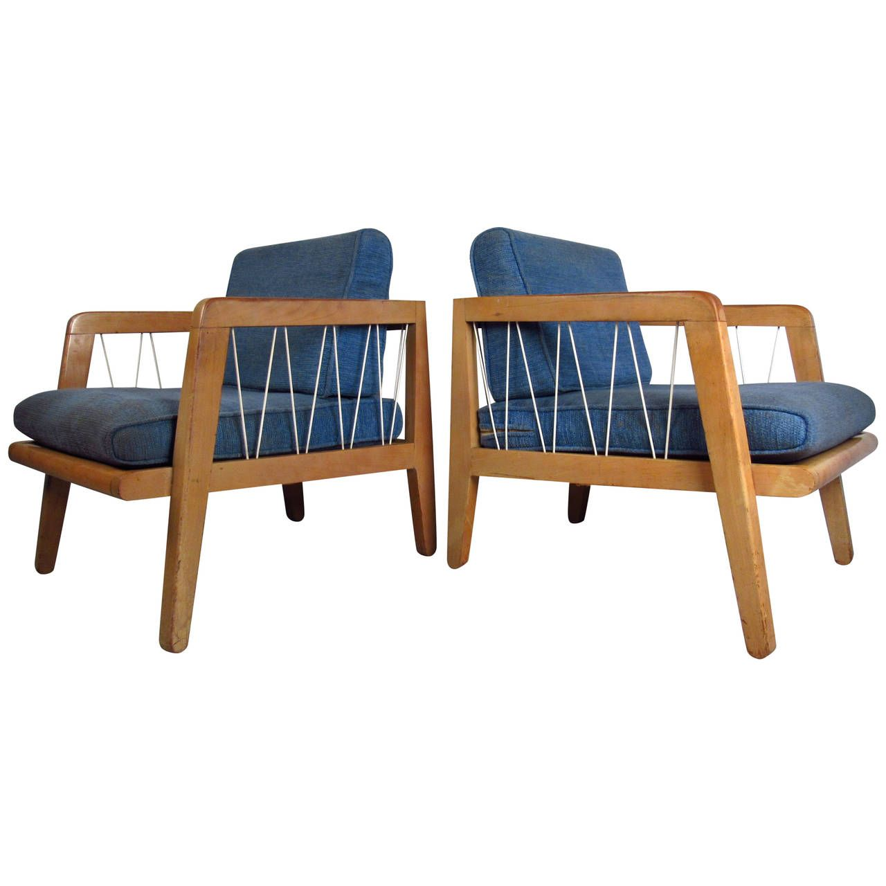Pair Of Mid Century Russel Wright Style Rope Frame Chairs 1stdibs Com Russel Wright Chair Furniture