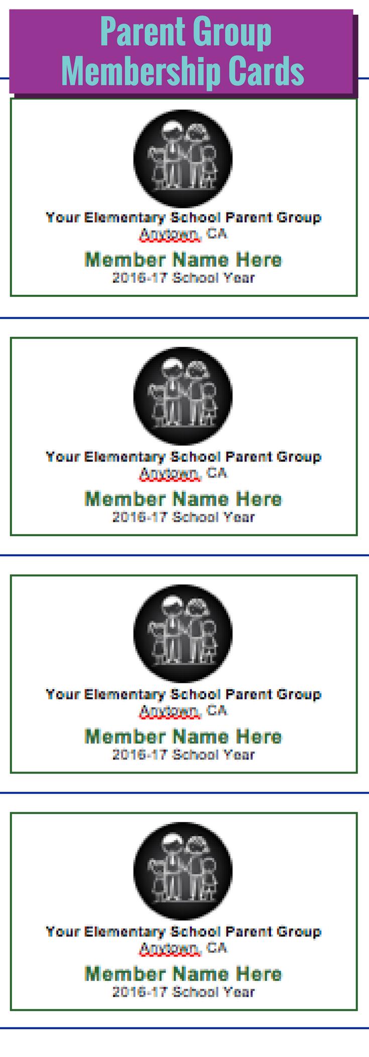 Pto Membership Cards Membership Card School Volunteer Pta School
