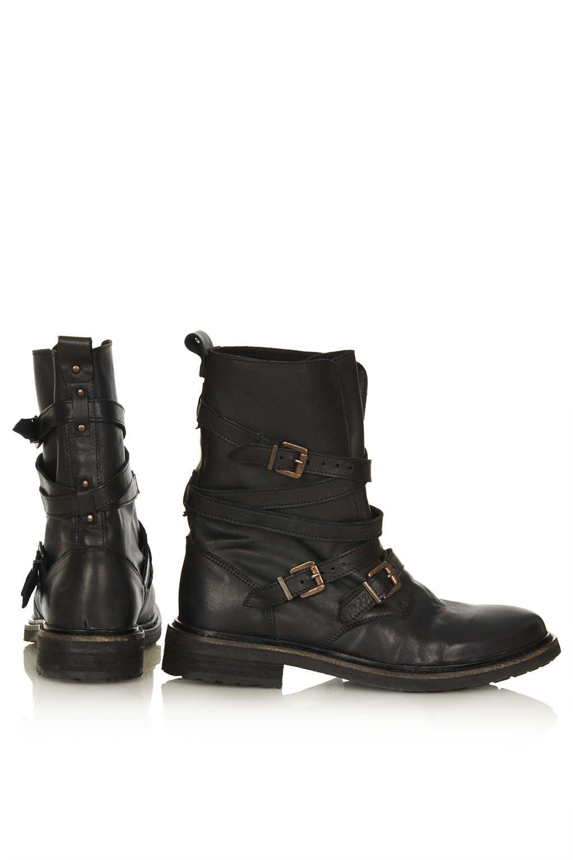 bb9b6b9a2d55 ARRESTED Buckle Biker Boots - Boots - Shoes - Topshop USA ...