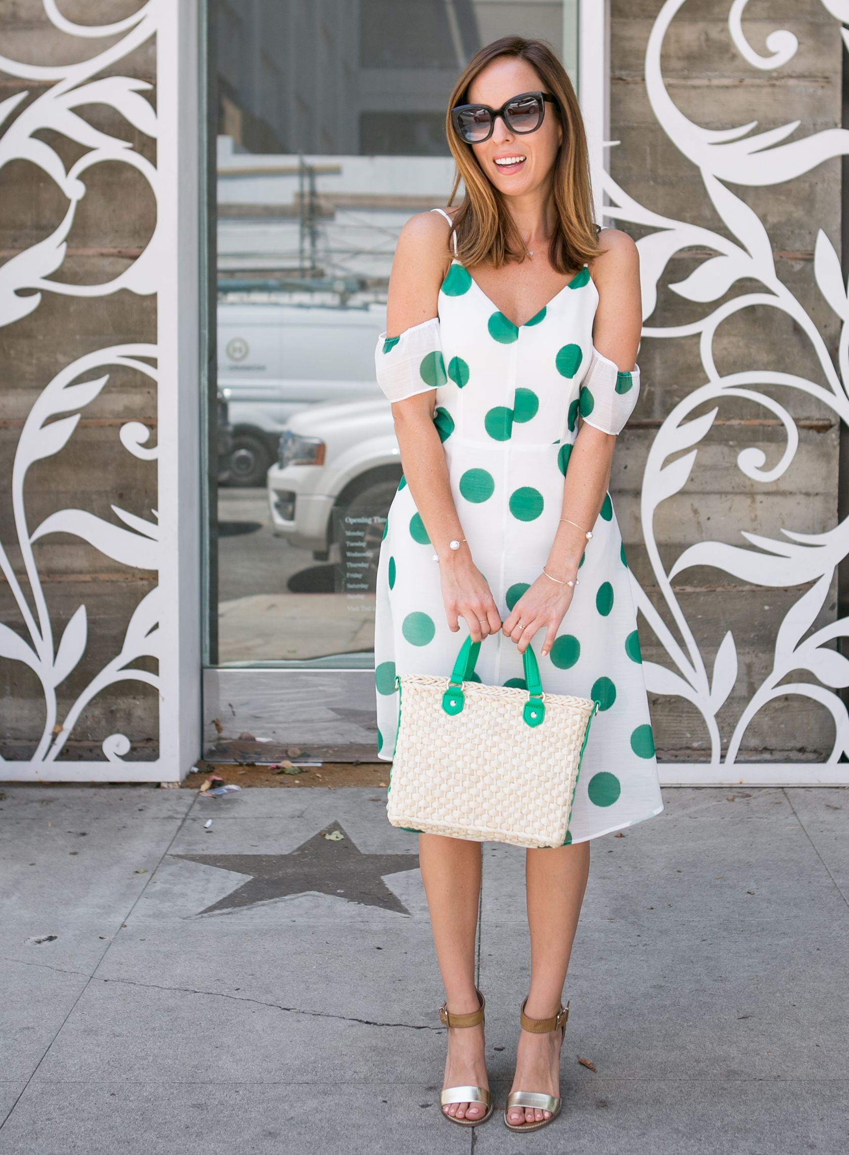 9d81af2700206 Sydne Style wears line and dot green polka dress for summer outfit ideas