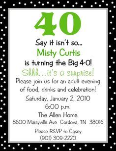 Download FREE Template 40th Birthday Invitation Wording Funny