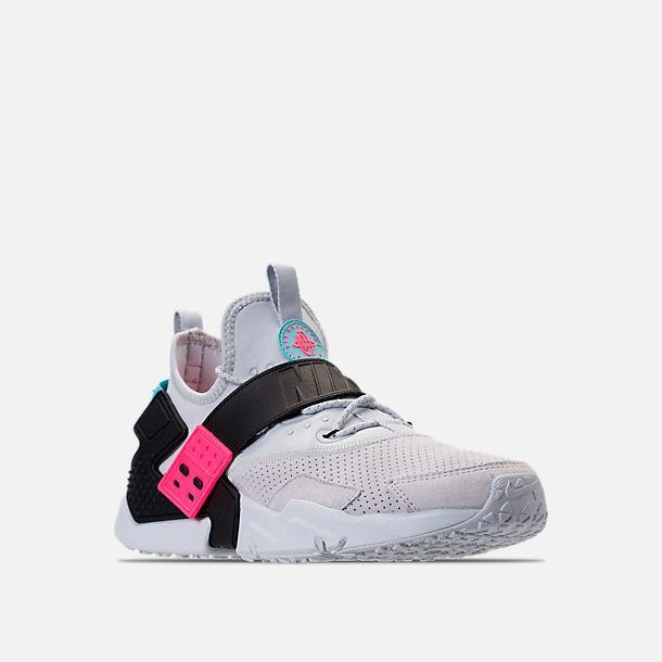 pretty nice 25d1b 76e05 Three Quarter view of Men s Nike Air Huarache Drift Premium Casual Shoes in  Pure Platinum Black Racer Pink