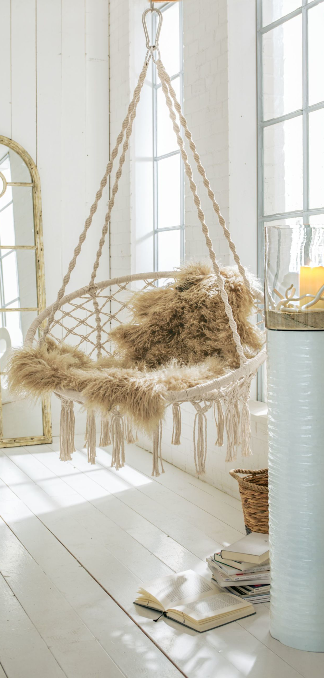 Round chair swing with 4 ropes and tassels  Ideas for the