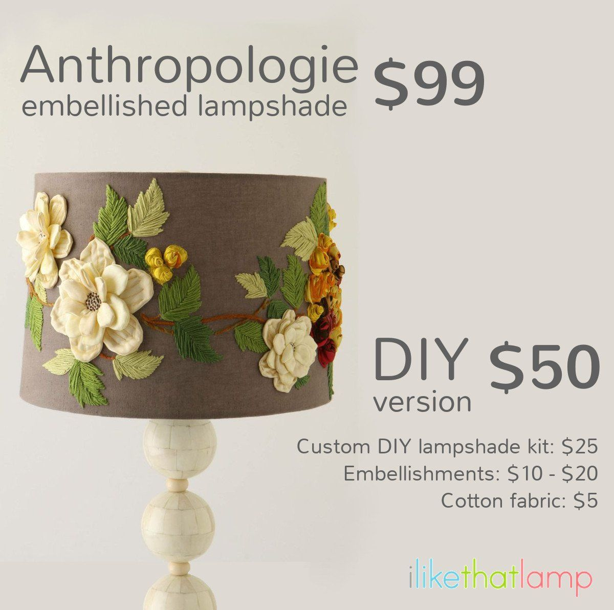 Get the Look for Less: Designer Lampshades. See more DIY lamp tips and tutorials at http://ilikethatlamp.com