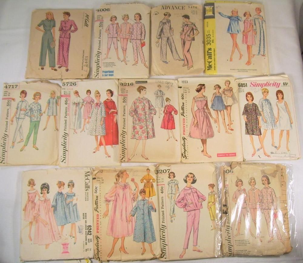 Vtg 13 Ladies Pajama Patterns Nightgown Robe Gown Sewing Simplicity Advance  40s f5468ac5d