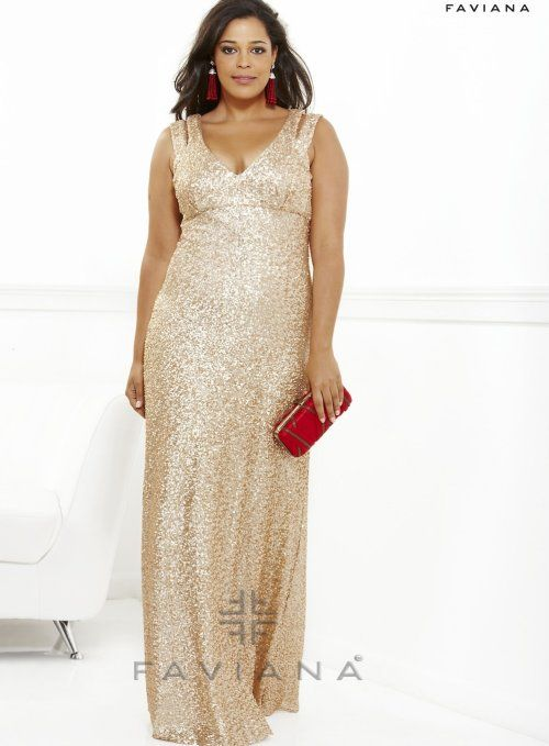 Elegant gold sequin plus size prom dress 2013 by Faviana with double ...