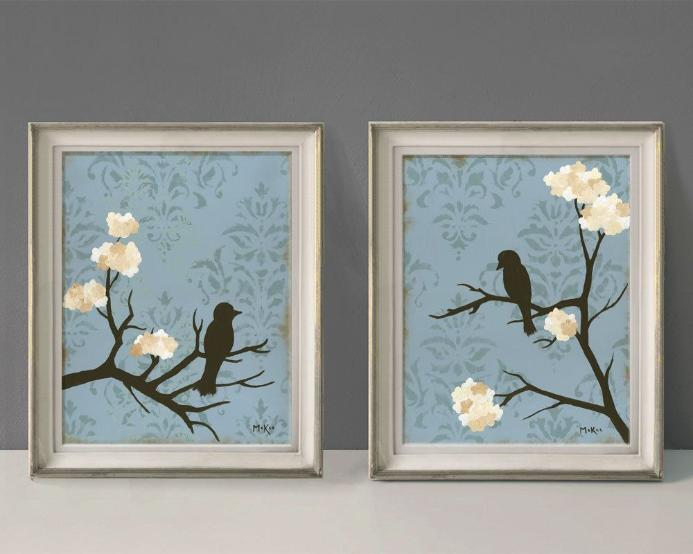 Shabby Love Bird Wall Decor Prints Cottage Chic Blue and cream Large Prints Set of Two 11 x 14 inches. $48.00 via Etsy. & Shabby Love Bird Wall Decor Prints Cottage Chic Blue and cream ...