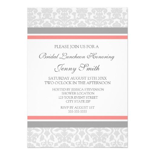 ReviewCoral Gray Damask Bridal Lunch Invitation Cardstoday price - best of invitation cards for wedding price