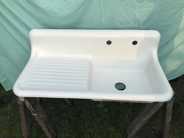 Antique Cast Iron Farm Sink High Back Drainboard Rolled Lip Circa