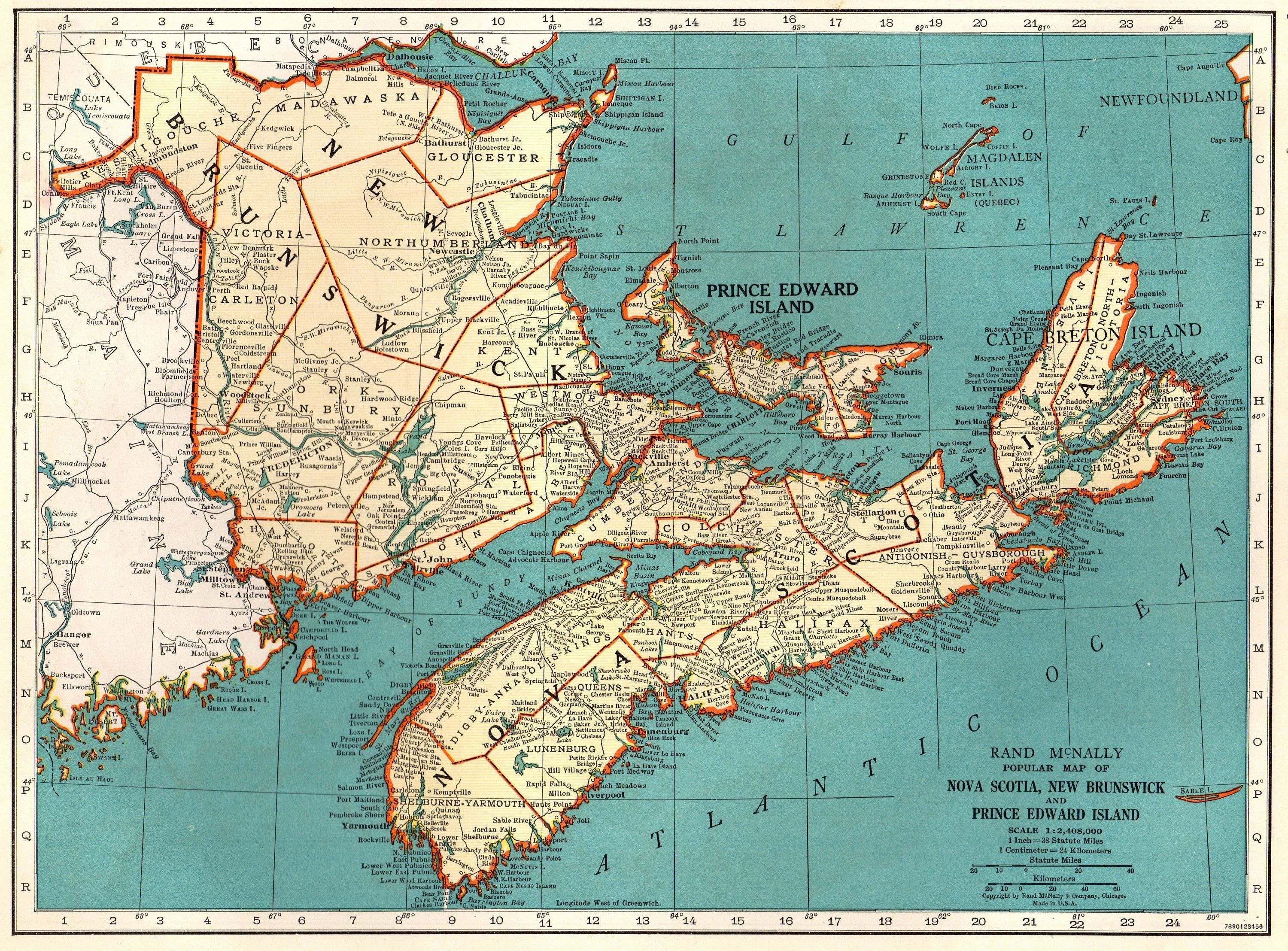 Maritime Canada Map 1943 Vintage NOVA SCOTIA Map Antique Maritime Canada Map Cape