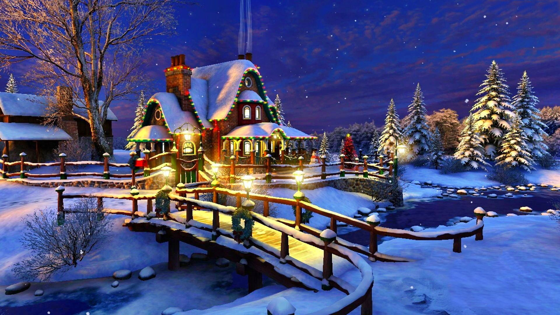 Christmas, Xmas, Winter, Lighting, Night, Cottage