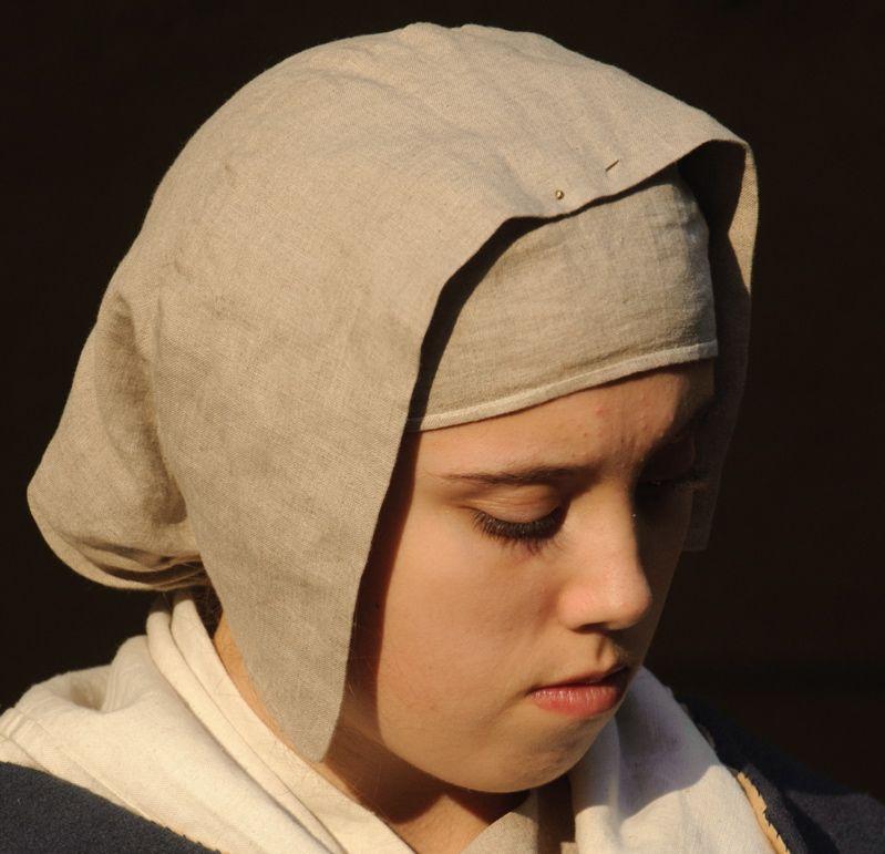 Medieval-Larp-Sca-Re enactment COIF-HEAD CAP-Headdress//HOOD /& COLLAR one size