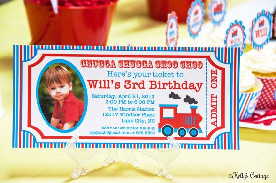 Vintage Train Ticket Photo Invitation... by KellysCottageShoppe, $11.00