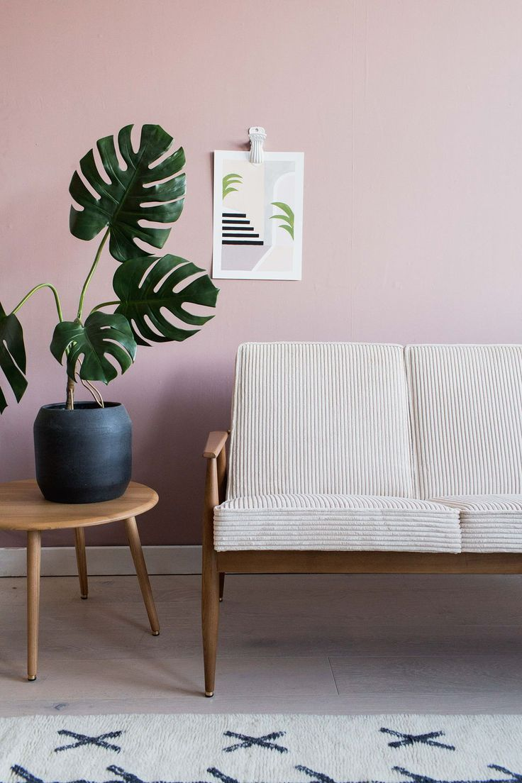 H. Lis Mid Century Modern Fox Chair Rose & Grey