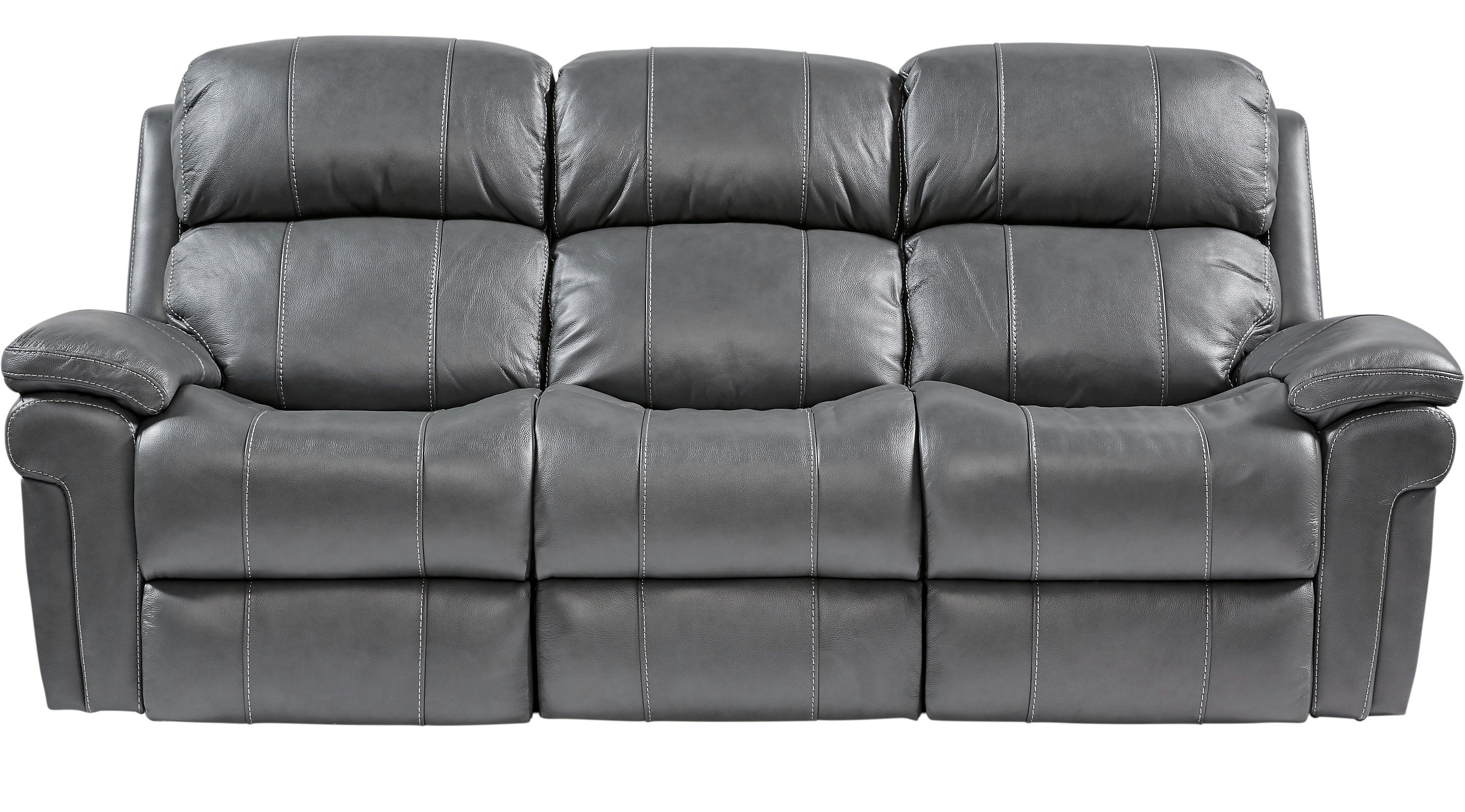 Sofas Rooms To Go Trevino Smoke Leather Reclining Sofa