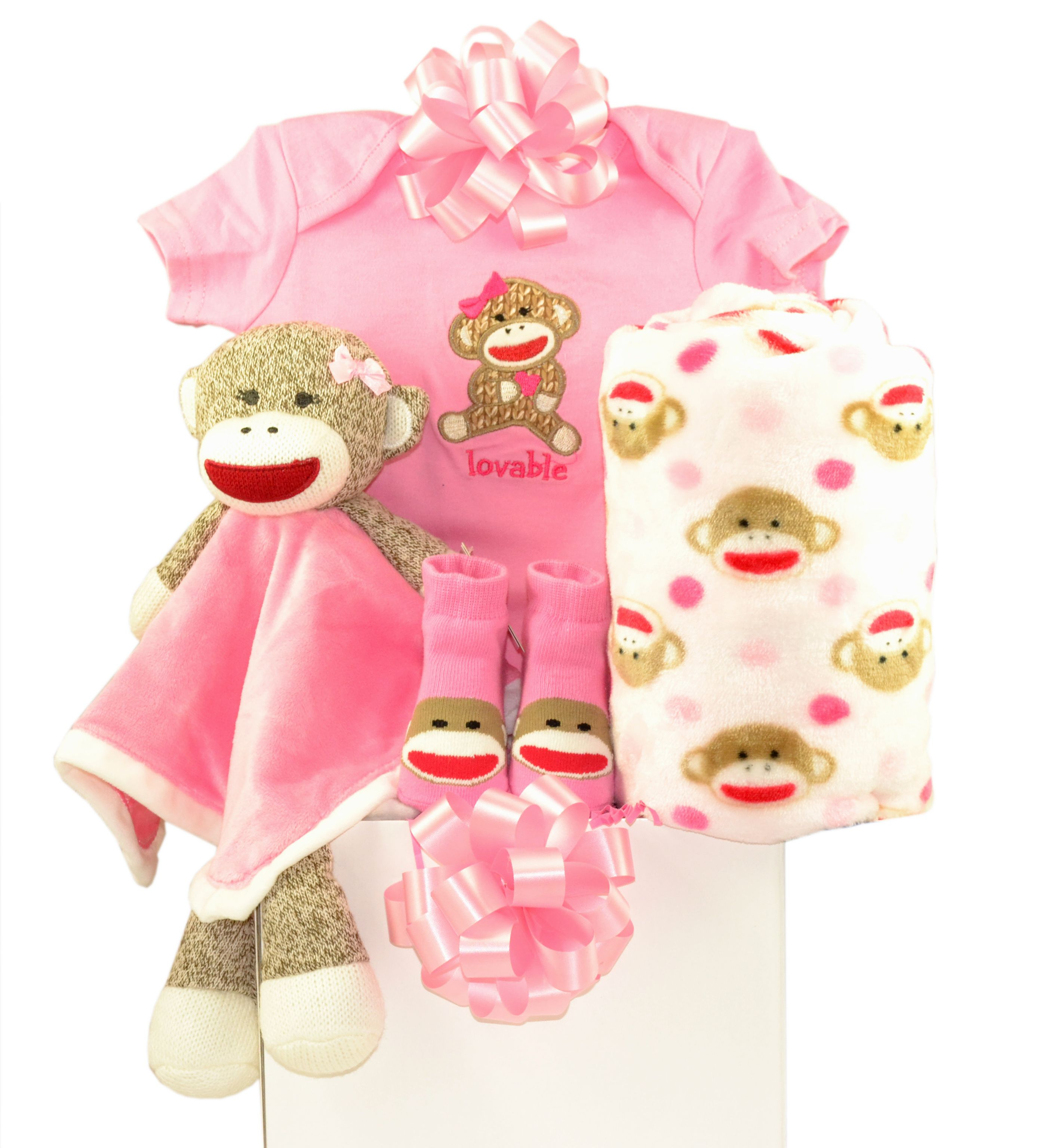 Sock Monkey Pink Baby Gift Basket
