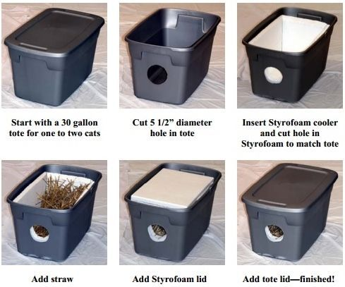 Make an outdoor cat shelter for stray cats in your neighborhood! More info:  http://www.indyferal.org/Litera… | Feral cat shelter, Outdoor cat house, Feral  cat house