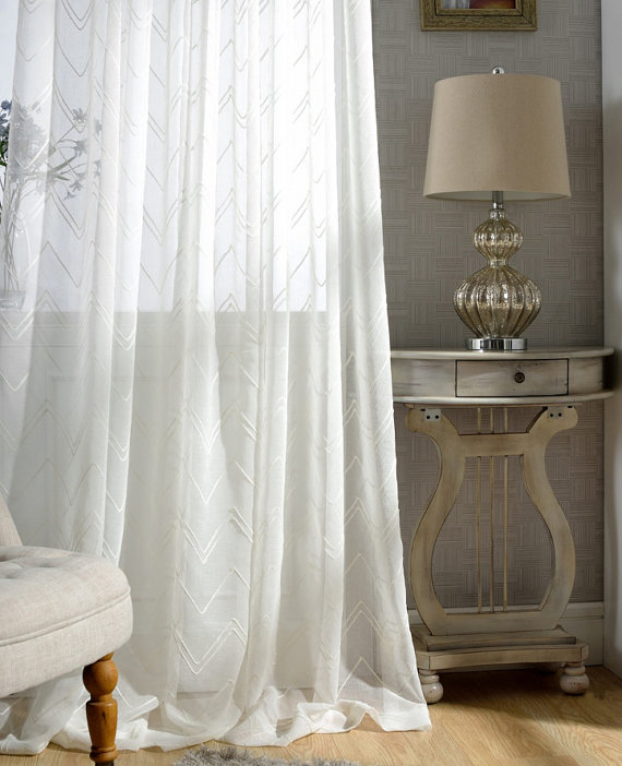 White Chevron Sheer Curtains Custom Made To Order Upto 104 L