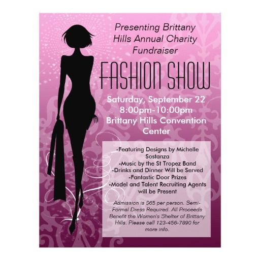 Fashion show flyer pink silhouette swirl 21 5 cm x 28 cm for Fashion show ticket template