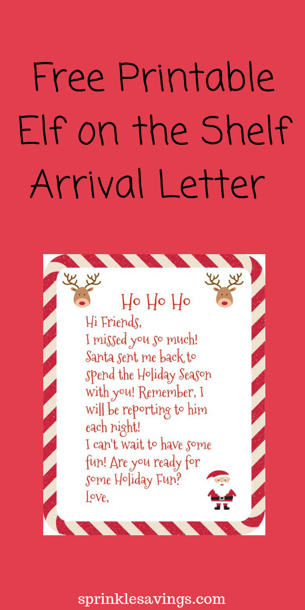 Free printable Elf on the Shelf Arrival Letter!
