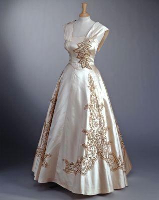 Duchesse satin embroidered dress 1951