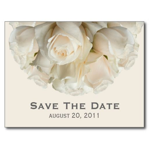White Roses Save The Date Postcard