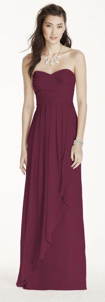 W10840 Davids Bridal in Wine my maid of honor dress | Davids