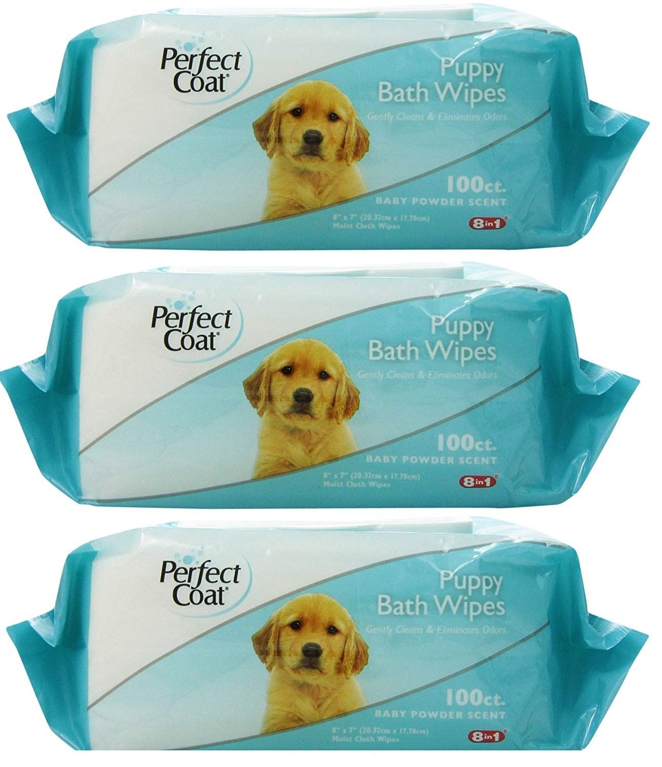 8in1 Perfect Coat Bath Wipes Tub 300 Total 3 Packs With 100