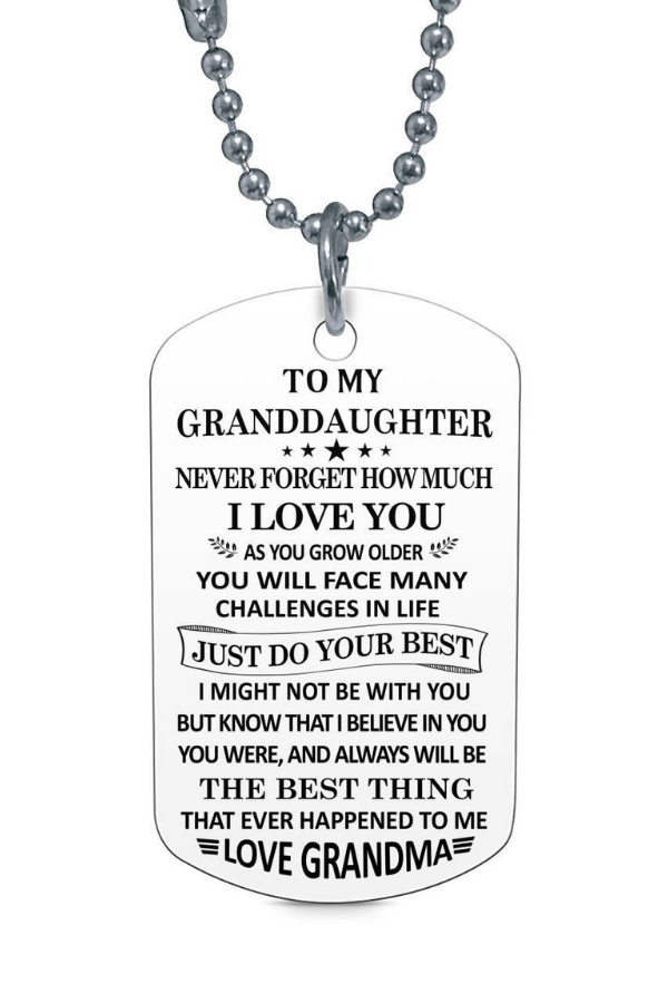 To My Granddaughter Love Grandma Dog Tag Necklace Birthday