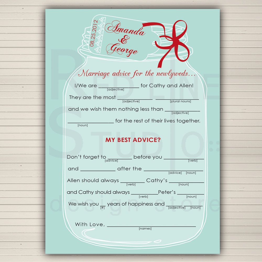 Wedding Mad Lib Printable Mason Jar