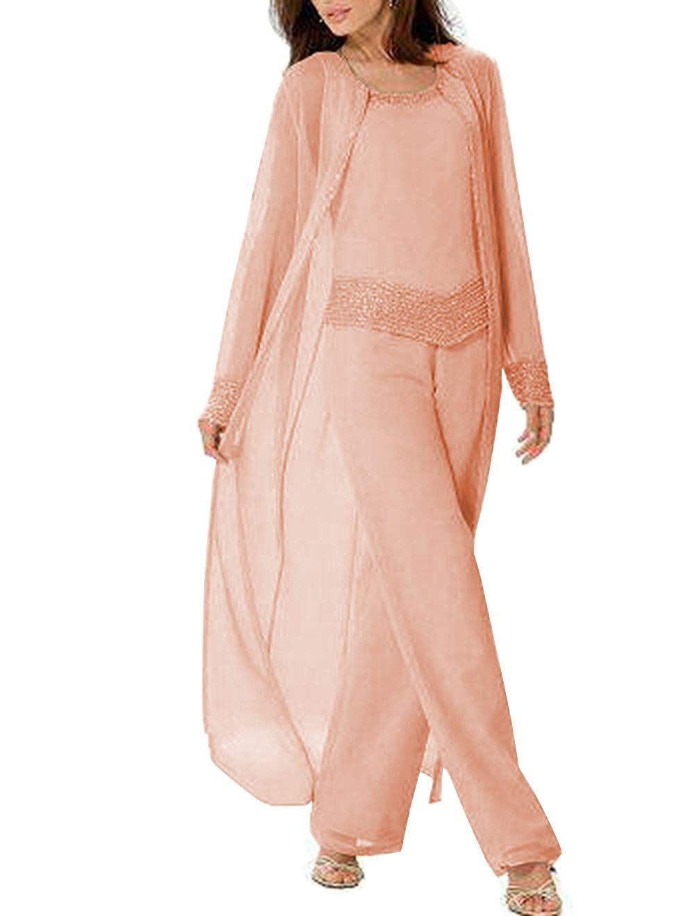 Fitty Lell Womens Chiffon Beaded Mother of The Bride Dresses Pants Suits for Wedding Groom Evening Dress