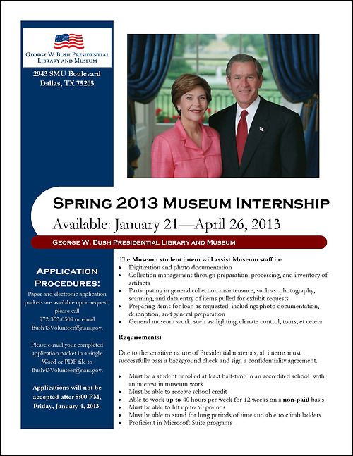 Uofdallas Intern With George W Bush Presidential Library And