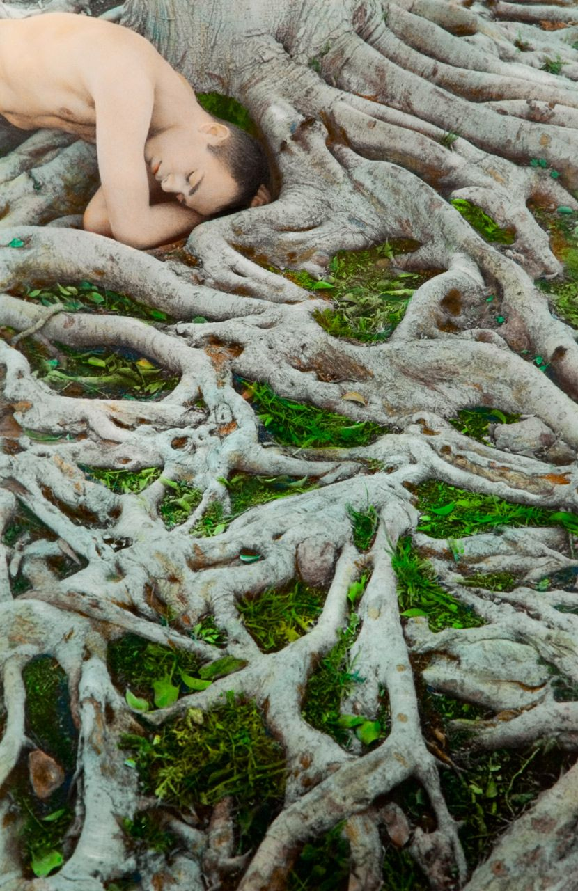 Self Portrait with Roots, Los Angeles, 2008    by Youssef Nabil