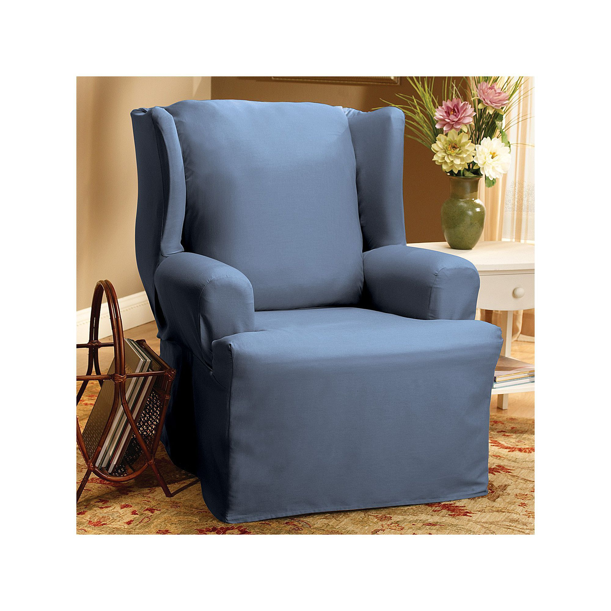 Sure Fit Solid Duck Cloth Wing Chair Slipcover, Blue