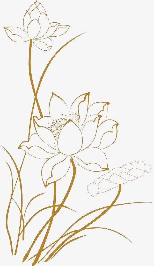 Lotus Line Drawings, Lotus Clipart, Line Clipart,