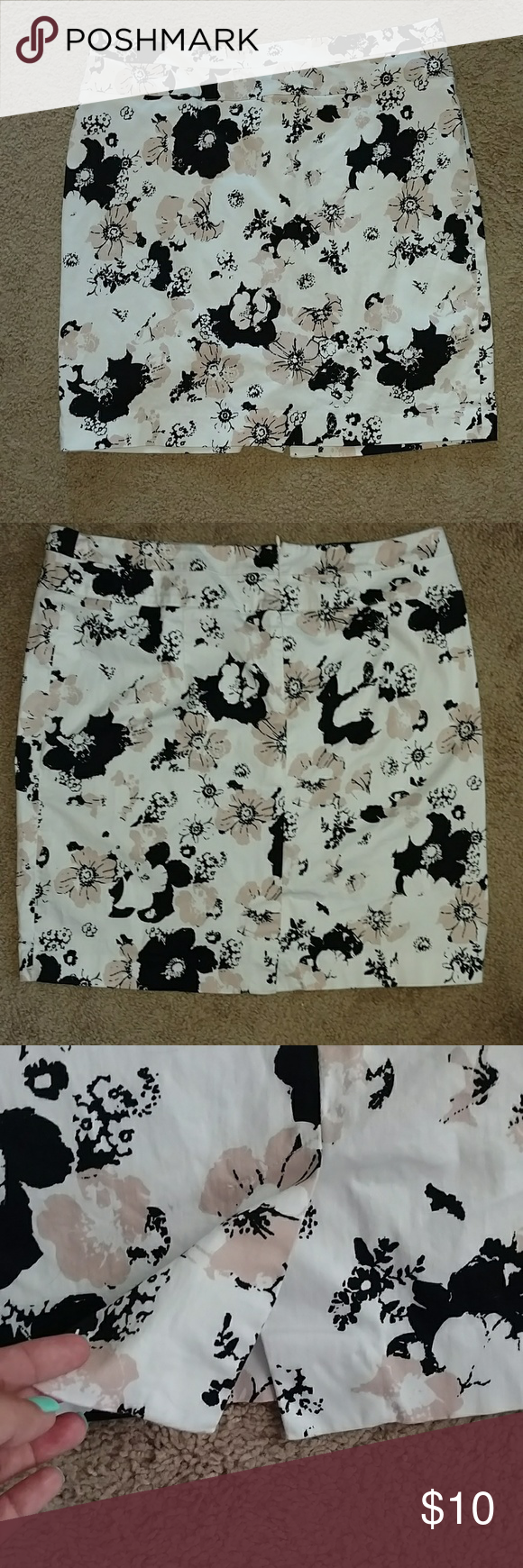 Super cute pencil skirt! White with black and light peace floral design. Size 14. Like new condition. Smoke free home. Zip back with small slit in the back. Donna Ricco Skirts Midi
