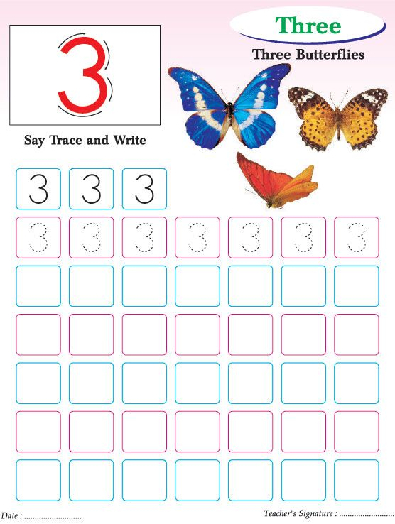 Numbers writing practice worksheet 3 Download Free Numbers