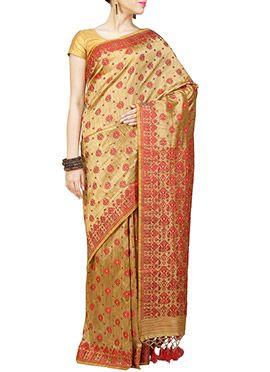 Art Silk Beige N Red Assam Saree