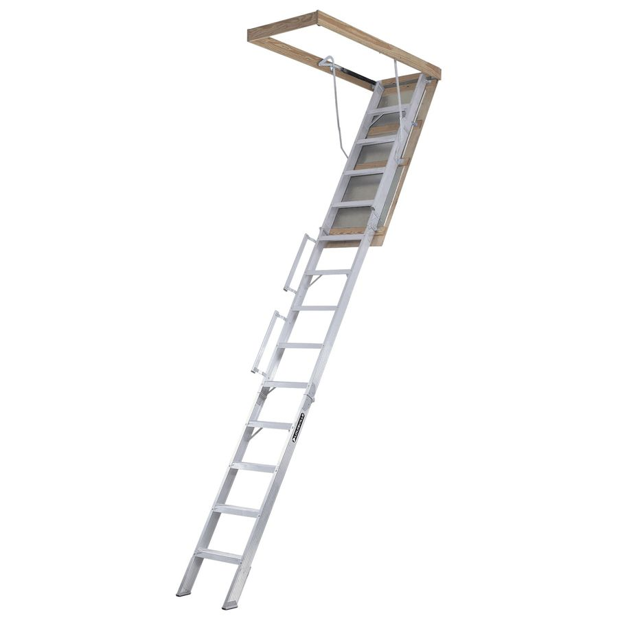 Louisville Everest 10 Ft To 12 Ft Rough Opening 22 5 In X 63 In Folding Aluminum Attic Ladder With 350 Lbs Capacity In 2020 Attic Ladder Attic Renovation Attic Access Ladder