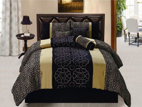 New Black Leopard Comforter Set Animal Print Bedding Full Queen