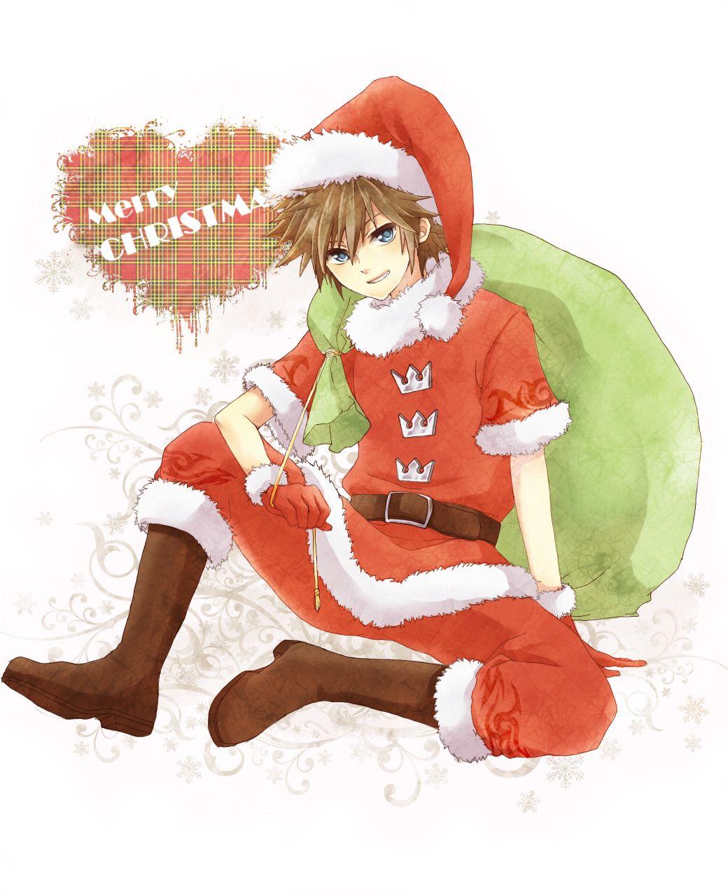 Kingdom Hearts Christmas.Sora Kingdom Hearts Christmas Ilustration Sora Kingdom
