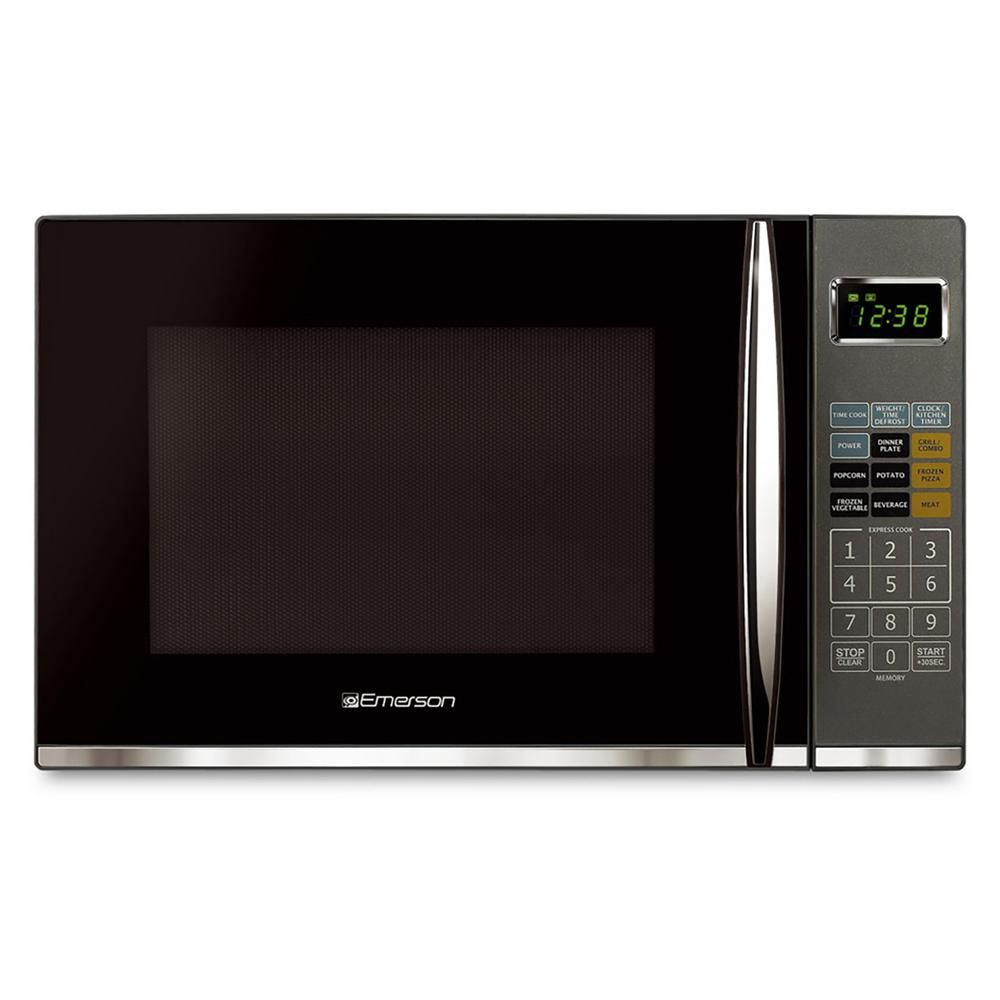 Emerson 1 2 Cu Ft 1100 Watt Countertop Microwave Oven With Grill