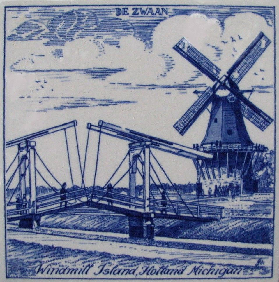 Delft blue ceramic tile de zwaan windmill island holland delft blue ceramic tile de zwaan windmill island holland michigan doublecrazyfo Gallery