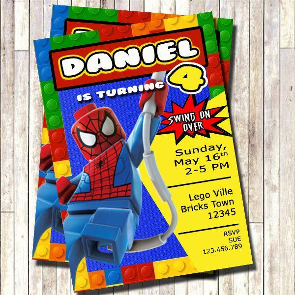 Lego Batman Invitation Lego Spiderman Invitation Spiderman Invites