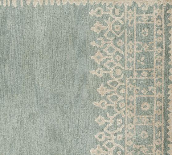 Desa Bordered Wool Rug Terra Cotta Large Bedroom Rugs Blue Pottery Wool Area Rugs