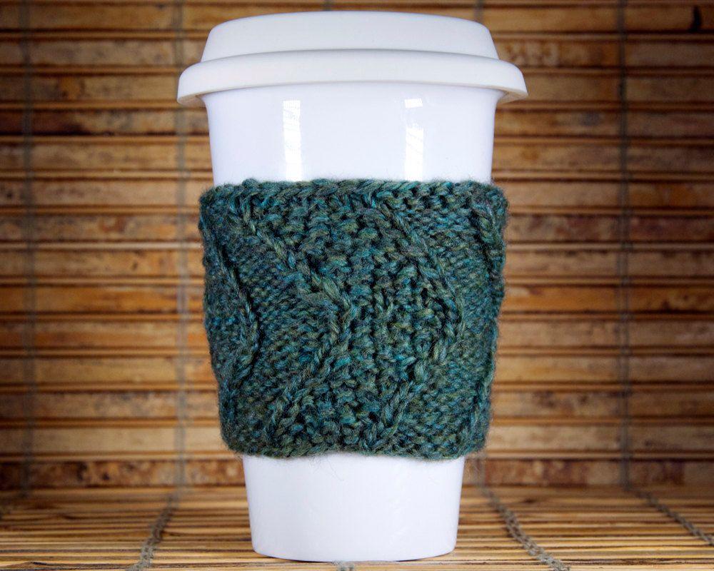 Hand Knit Coffee Cozy Chevron pattern Green by CEMsStudio, $10.00 ...
