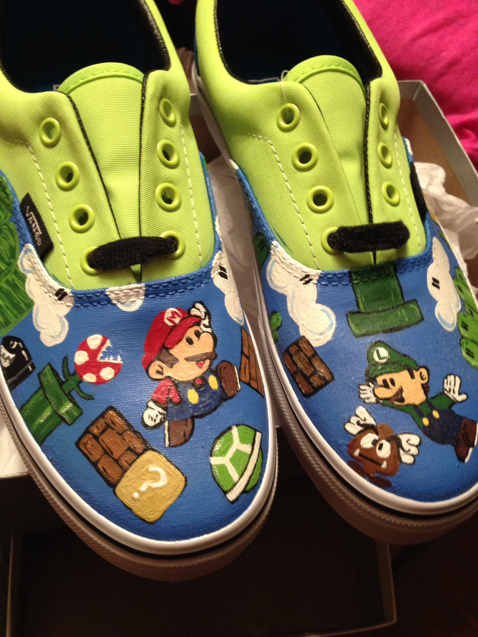Mario bros custom painted vans. Facebook.com princessgarments Painted Vans 77aa35eaf38a