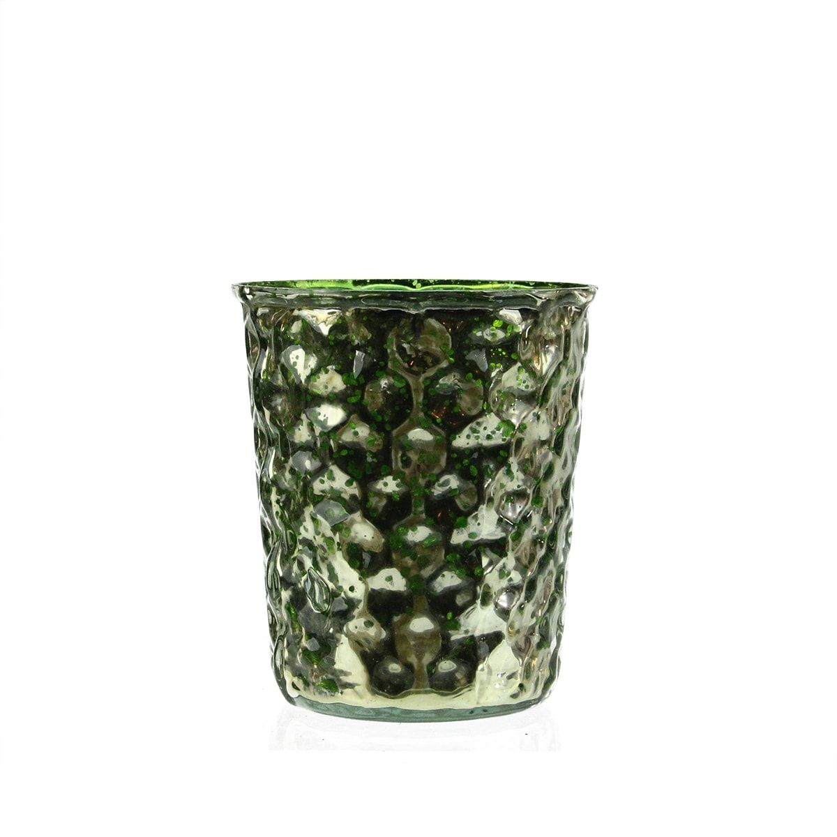 Set of green and silver hammered mercury glass decorative votive