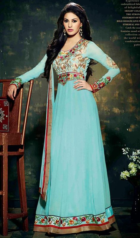 Be your own style diva with this aqua blue chiffon, georgette embroidered floor length Anarkali suit. This attire is beautifully adorned with lace, resham and stones work. #AquaBlueGeorgetteFancyAnarkali