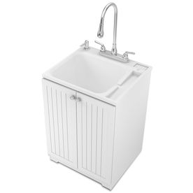 ASB White Freestanding Plastic Utility Tub Lowes for the garage